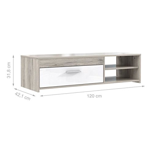 Katso meuble tv 120 cm chene blanc brillant for Meuble tv blanc 90 cm