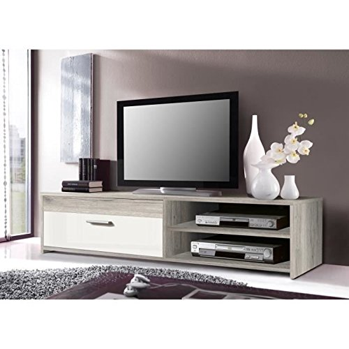 katso meuble tv 120 cm chene blanc brillant. Black Bedroom Furniture Sets. Home Design Ideas