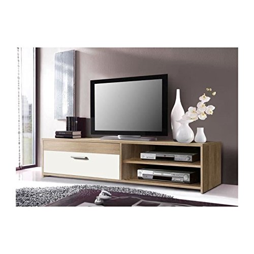Katso meuble tv 120 cm coloris chene blanc for Meuble tv 120 cm