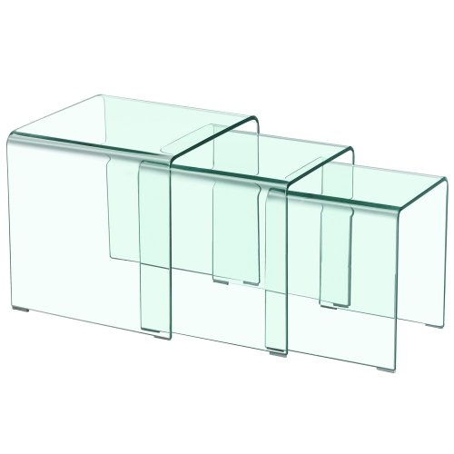 Menzzo contemporain table basse gigogne verre 42 x 42 x 42 cm - Table basse gigogne verre ...