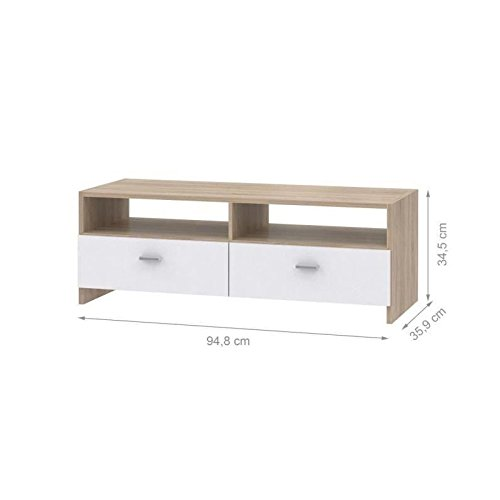 meuble tv 95cm blanc et d cor chene helppo. Black Bedroom Furniture Sets. Home Design Ideas