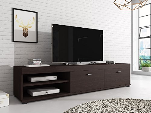 meuble tv armoire ch ne fonc support elsa en bois weng. Black Bedroom Furniture Sets. Home Design Ideas