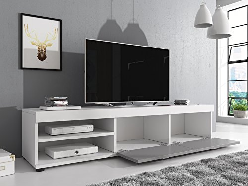 meuble tv armoire support elsa blanc fa ades brillant gris. Black Bedroom Furniture Sets. Home Design Ideas