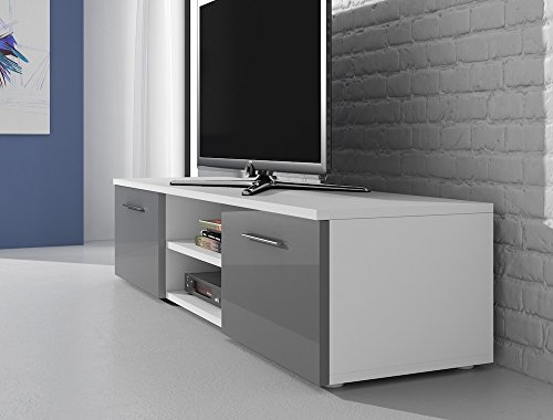 Meuble tv armoire support vegas blanc fronts brillant gris for Meuble tv armoire