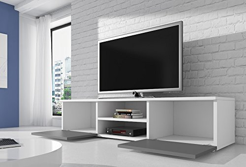 meuble tv armoire support vegas blanc fronts brillant gris. Black Bedroom Furniture Sets. Home Design Ideas