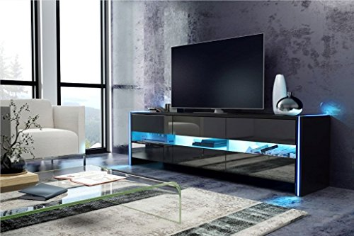 meuble tv bright avec led cabinet pour la tv noir. Black Bedroom Furniture Sets. Home Design Ideas