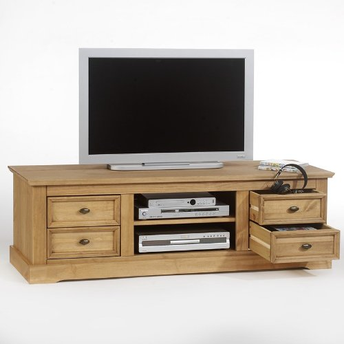 meuble tv kent en pin finition cir e 4 tiroirs 2 niches. Black Bedroom Furniture Sets. Home Design Ideas