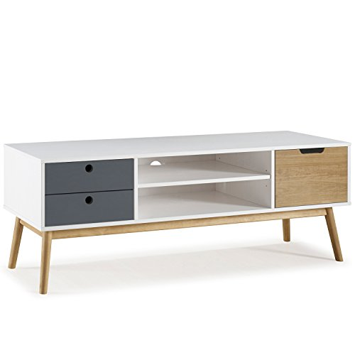 meuble tv leti blanc fabriqu en bois de pin massif 1 porte y 2 tiroirs 140 cm. Black Bedroom Furniture Sets. Home Design Ideas