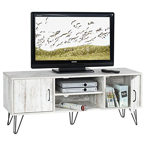 meuble banc tv design eva mdf aspect vintage shabby chic pieds m talliques noirs. Black Bedroom Furniture Sets. Home Design Ideas