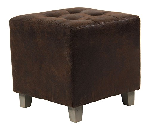 pouf carr aspect cuir vieilli coloris marron. Black Bedroom Furniture Sets. Home Design Ideas