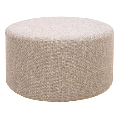 rebecca srl repose pieds pouf tissu rond plat gris vintage. Black Bedroom Furniture Sets. Home Design Ideas