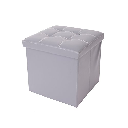 rebecca srl pouf boite de rangement tabouret carre synthetique gris design contemporain salon. Black Bedroom Furniture Sets. Home Design Ideas
