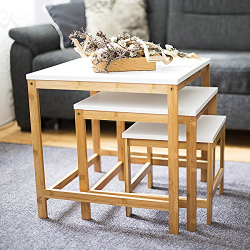 Relaxdays tables gigognes d 39 appoint lot de 3 en bambou 50 - Table de salon style scandinave ...