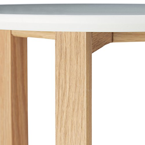 Relaxdays tables gigognes rondes blanches lot de 3 bois de for Table bois nordique