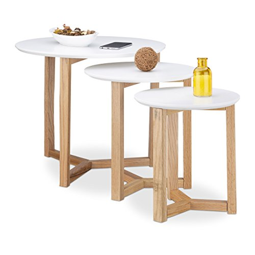 Relaxdays tables gigognes rondes blanches lot de 3 bois de for Table de salle a manger style nordique