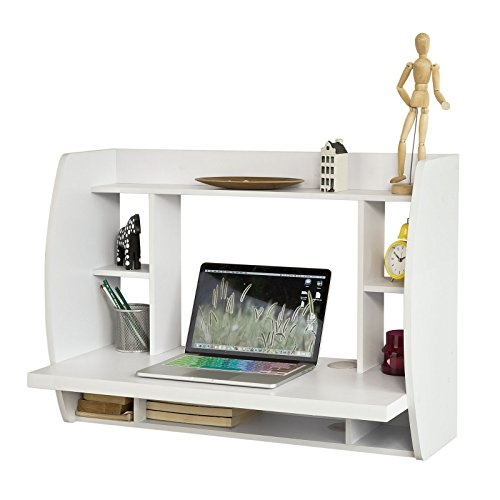 sobuy fwt18 w table murale bureau avec tag re int gr e armoire de rangement murale blanc. Black Bedroom Furniture Sets. Home Design Ideas