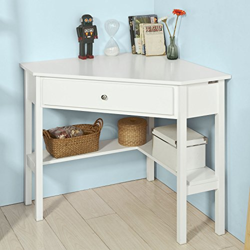 Sobuy fwt31 w table bureau d 39 angle bureau informatique for Meuble bureau avec tiroirs