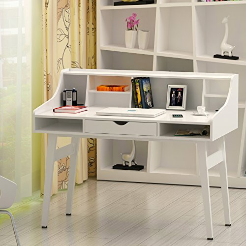 songmics bureau informatique coiffeuse table de maquillage en panneaux de fibres mdf surface de. Black Bedroom Furniture Sets. Home Design Ideas