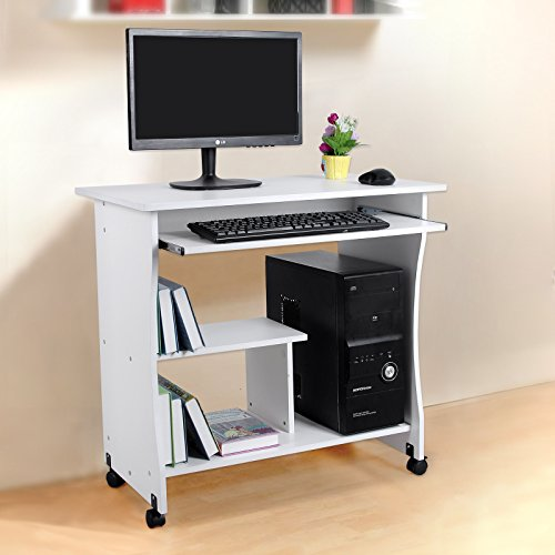 Songmics bureau informatique roulant table informatique for Meuble pour ordinateur et imprimante