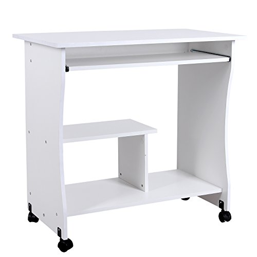Songmics bureau informatique roulant table informatique for Table pour ordinateur et imprimante