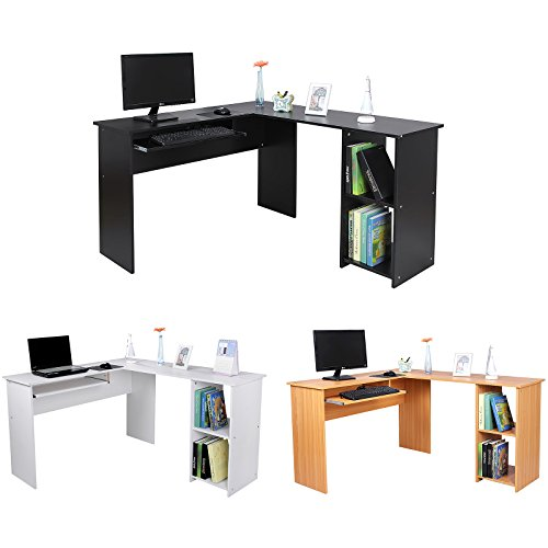 Songmics bureau informatique avec tablette coulissante for Bureau avec tablette coulissante