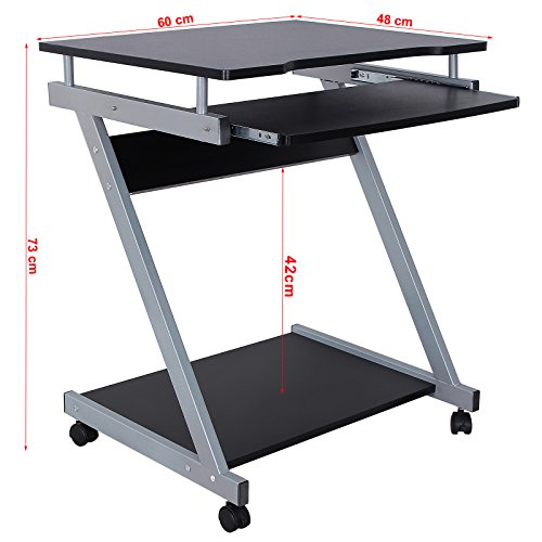 Songmics bureau informatique table informatique meuble for Meuble de bureau noir