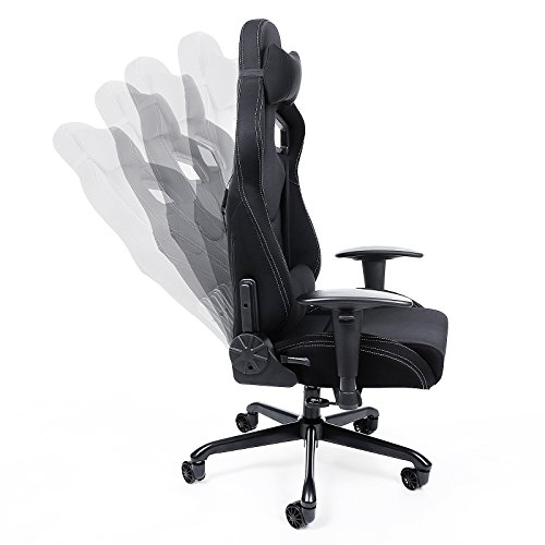songmics chaise fauteuil si ge de bureau racing sport avec support lombaire et coussin. Black Bedroom Furniture Sets. Home Design Ideas