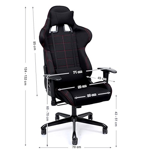 songmics chaise gamer fauteuil de bureau racing sport avec support lombaire et coussin. Black Bedroom Furniture Sets. Home Design Ideas