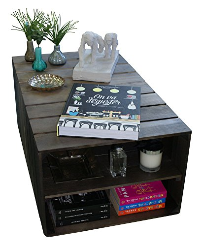 Table basse en bois 2 compartiments sur roulettes style for Table basse en caisse en bois