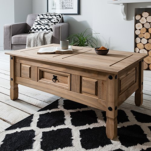 table basse corona bois 1 tiroir en pin cir. Black Bedroom Furniture Sets. Home Design Ideas