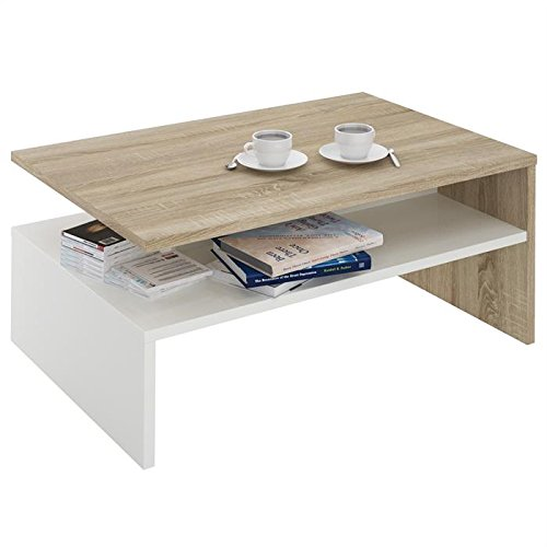 Table basse de salon adelaide mdf m lamin ch ne sonoma et for Table basse blanc et chene
