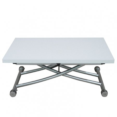 Table basse relevable plateau allonge d pliable clever xl laqu blanc brillant - Table basse relevable blanc laque ...