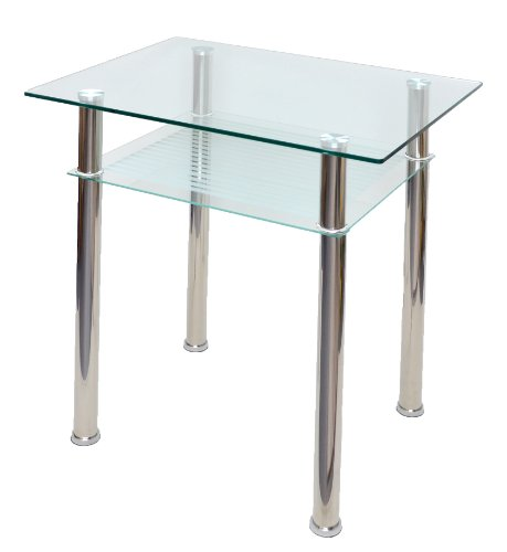 Table en verre console ordinateur table d 39 appoint 80 x 60 for Table d appoint ordinateur
