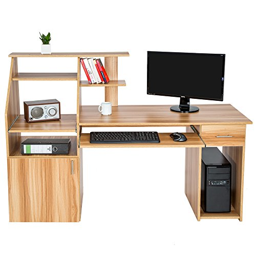 tectake bureau informatique table de l 39 ordinateur avec de nombreux rangements. Black Bedroom Furniture Sets. Home Design Ideas