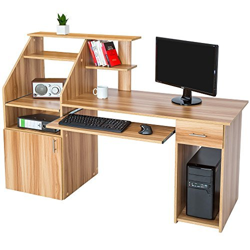 Tectake bureau informatique table de l 39 ordinateur avec de for Bureau informatique