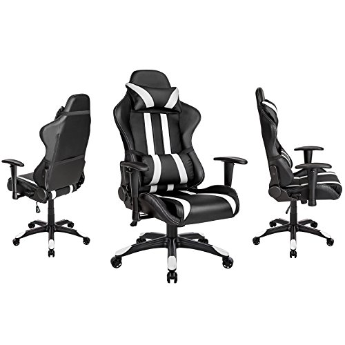 tectake chaise fauteuil si ge de bureau racing sport ergonomique avec support lombaire et. Black Bedroom Furniture Sets. Home Design Ideas