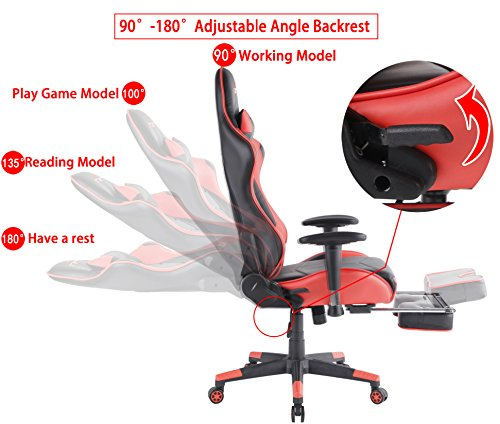 top gamer ergonomique gaming pivotant ordinateur chaise de bureau dossier haut avec repose. Black Bedroom Furniture Sets. Home Design Ideas