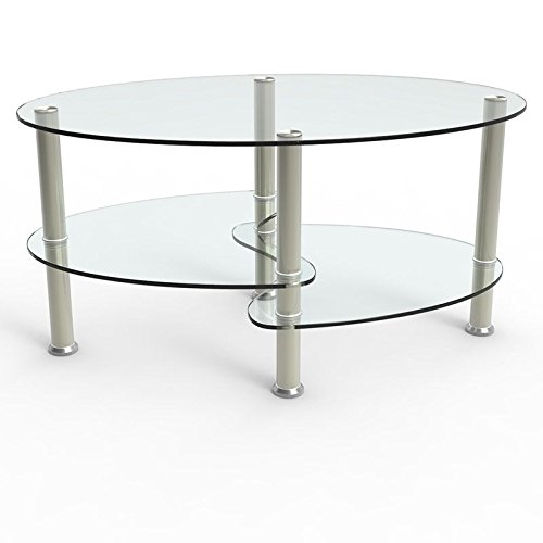 uenjoy table basse table de salon en verre ovale noir clair avec pieds chrom s. Black Bedroom Furniture Sets. Home Design Ideas