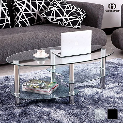 Uenjoy table basse table de salon en verre ovale noir - Table basse ovale en verre ...
