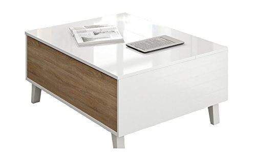 Zaiken plus table basse scandinave blanc brillant et d cor chene l 100 cm - Table basse blanc brillant ...
