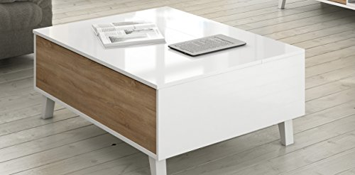 Zaiken plus table basse scandinave blanc brillant et d cor for Table basse blanc et chene