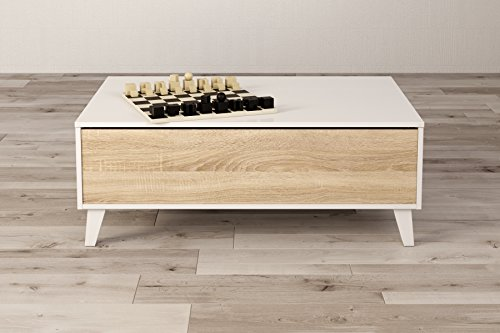 zaiken plus table basse scandinave blanc brillant et