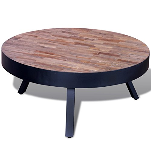 Vidaxl table basse ronde en teck recycl - Table en teck recycle ...