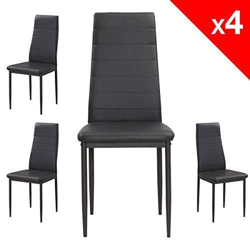apex chaises salle manger lot de 4 chaises cuisine salon simili cuir pi tement m tal noir. Black Bedroom Furniture Sets. Home Design Ideas
