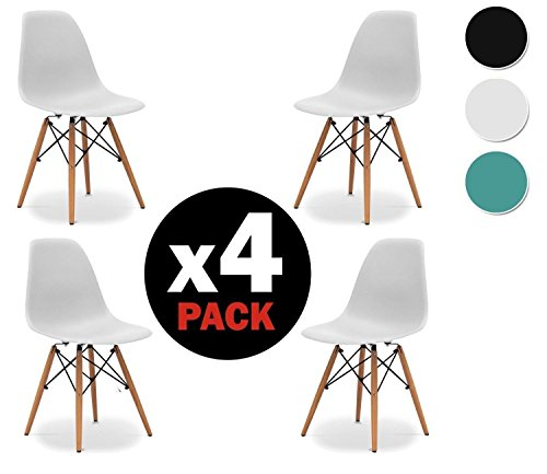 Due home nordik pack 4 chaises tour blanche chaise for Chaise eames replique