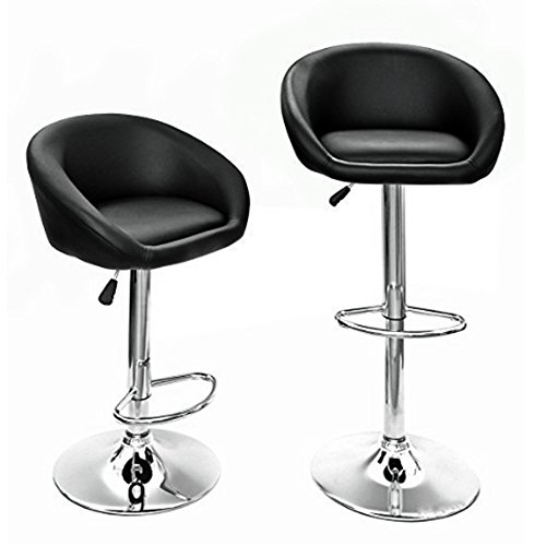 Hollylife lot de 2 tabourets de bar en simili cuir chaise de cuisine chrome p - Chaise de bar en cuir ...