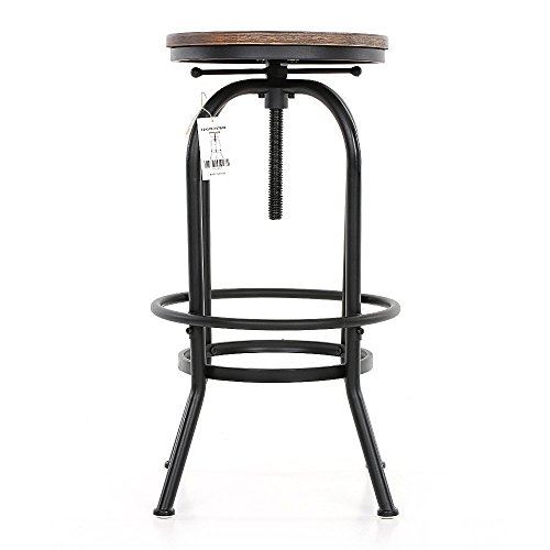 ikayaa tabouret de bar en pin et m tal style industriel hauteur r glable la chaise de petit d jeuner. Black Bedroom Furniture Sets. Home Design Ideas