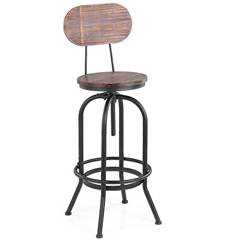 ikayaa industrial style tabouret de bar hauteur r glable pivotant cuisine chaise manger. Black Bedroom Furniture Sets. Home Design Ideas