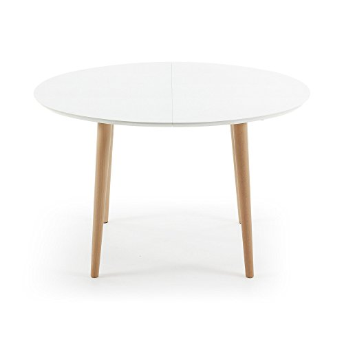 Kavehome table oqui extensible ovale 120 200 cm naturel for Table extensible 120 cm