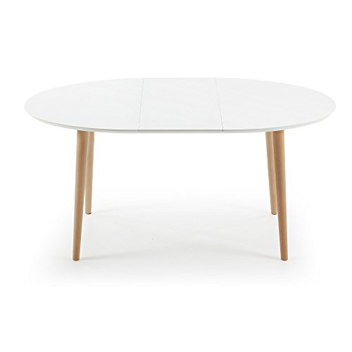 kavehome table oqui extensible ovale 120 200 cm naturel